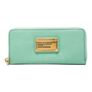 Marc by Marc Jacobs Mint Green Classic Q Slim Zip  Around Long Wallet